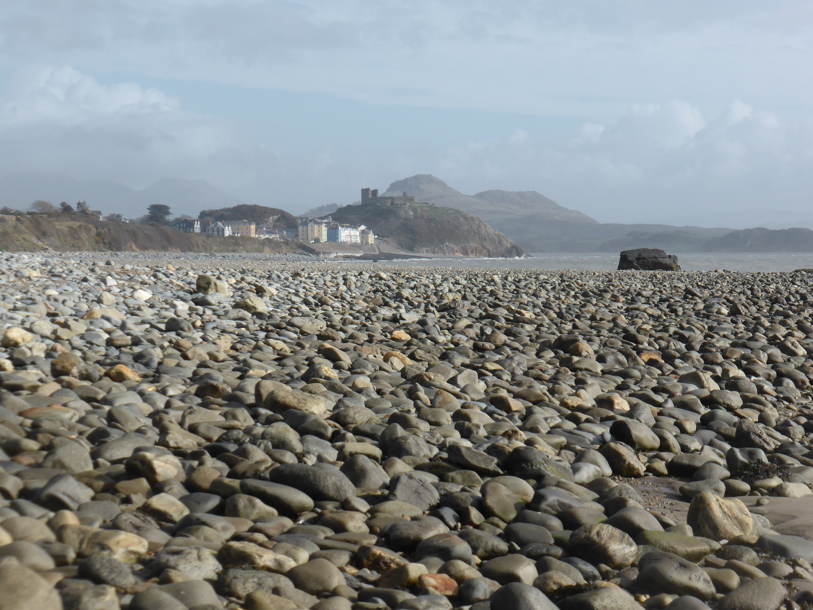 Criccieth from a pebble beach