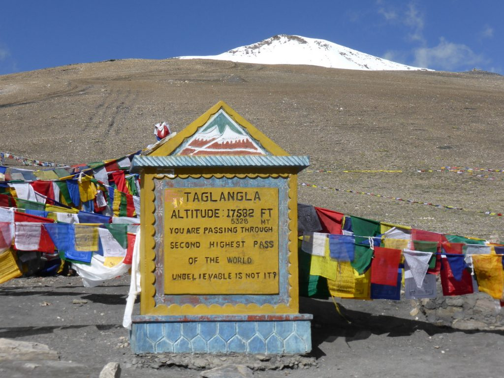 Taglangla pass summit with prayerflags