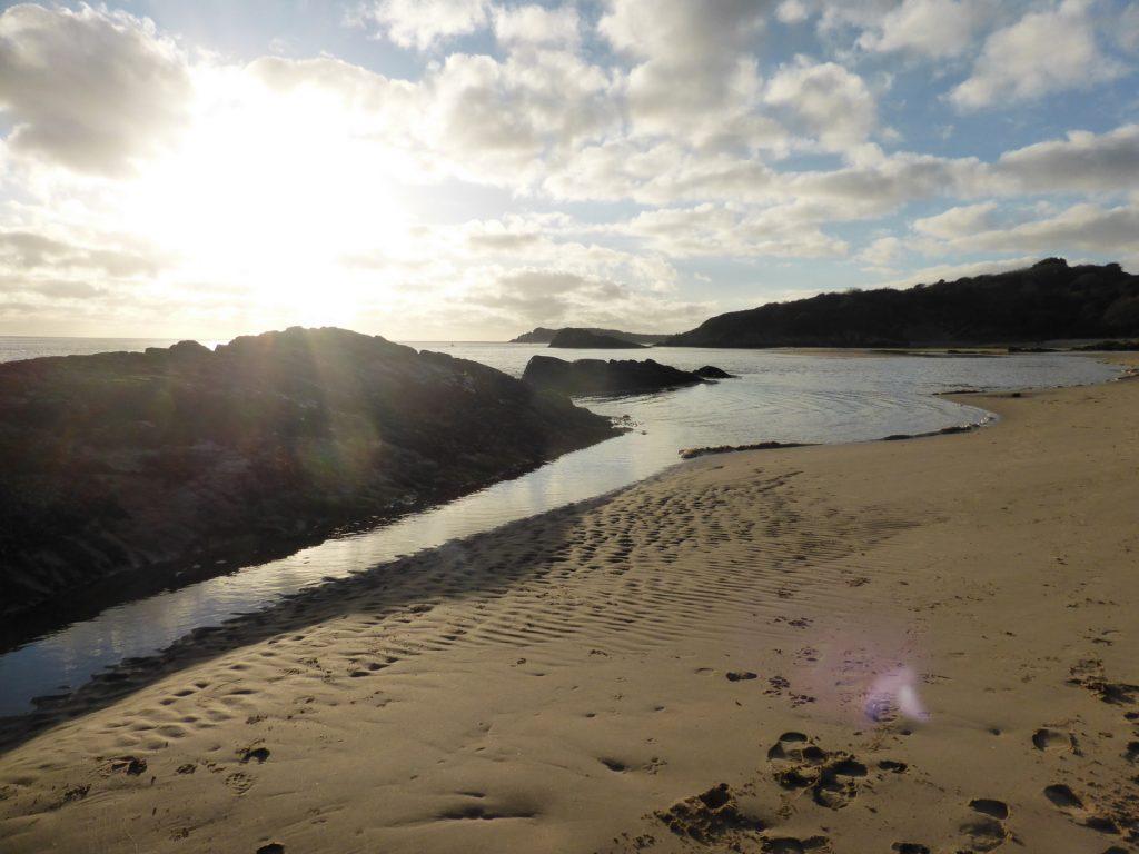 dramatic light on shoreline