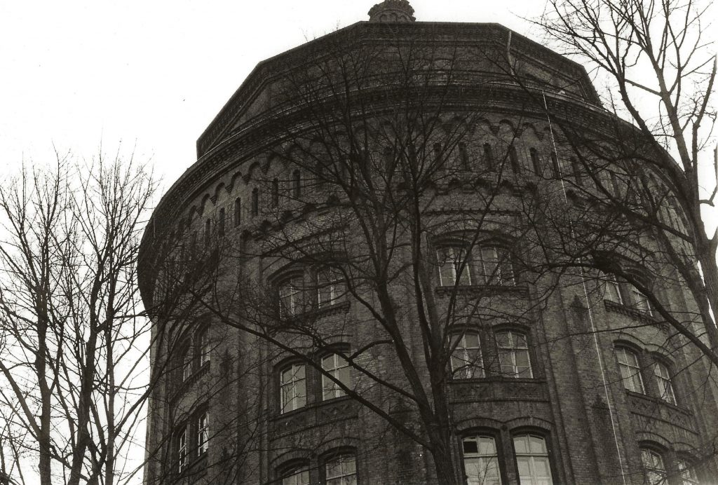 water tower building and trees
