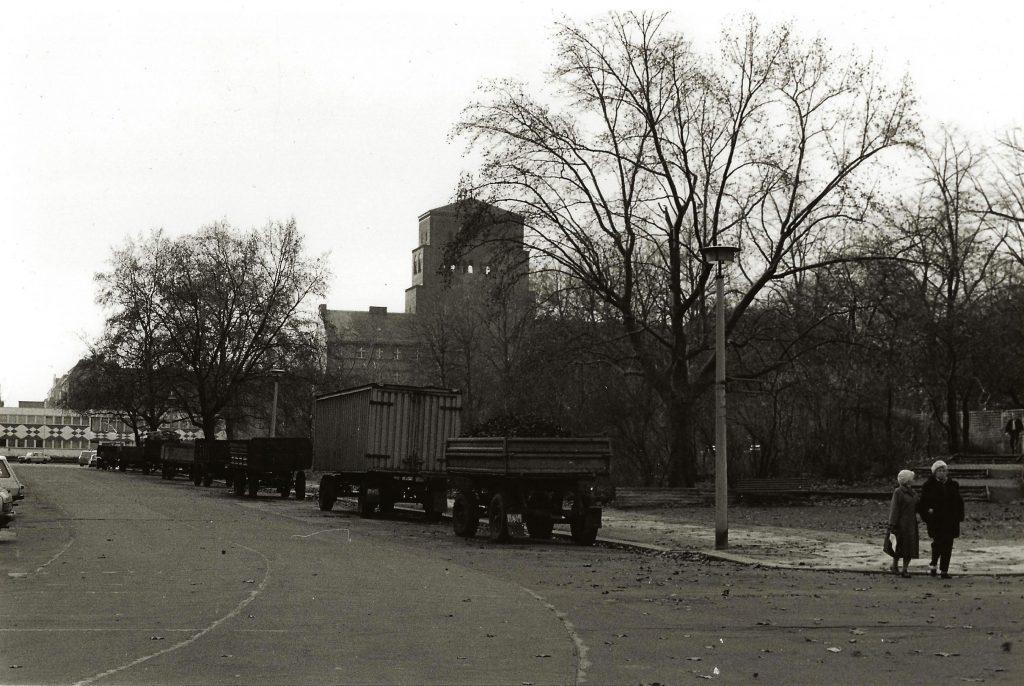 parked coal trucks